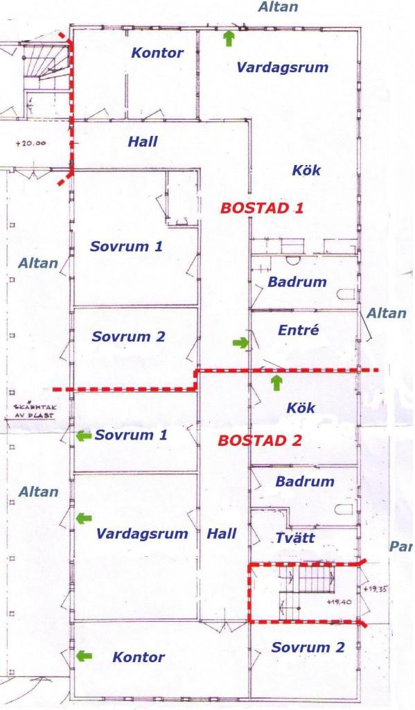 Planlösning för de två lägenheterna